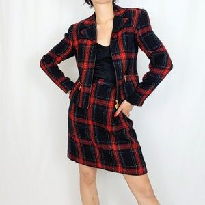 90's Plaid suit with heart zipper pulls